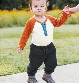 Ruffle Butts/Rugged Butts Orange Spice & Ivory Raglan Henley Bodysuit