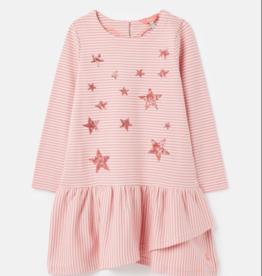 Joules Roselynn LS Pink Stripe Frill Hem Dress