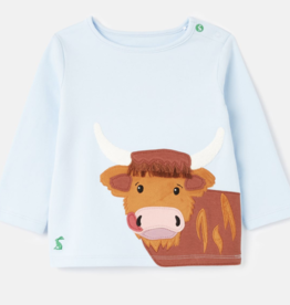 Joules Angus Applique T-Shirt Blue Cow