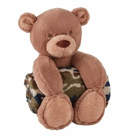 Mud Pie Camo Bear with Plush Blanket