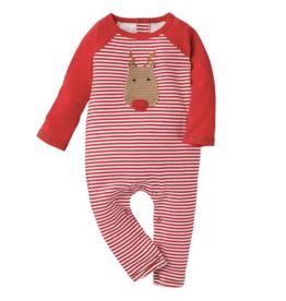 Mud Pie Crochet Reindeer Red & White Stripe Romper