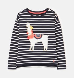 Joules Lorelle Navy Llama Drop Shoulder Top