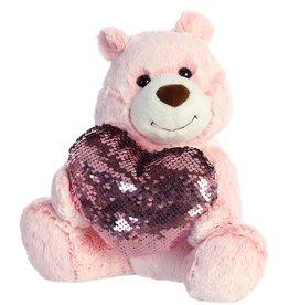 "Aurora 11"" Sparkle Heart Bear Pink"