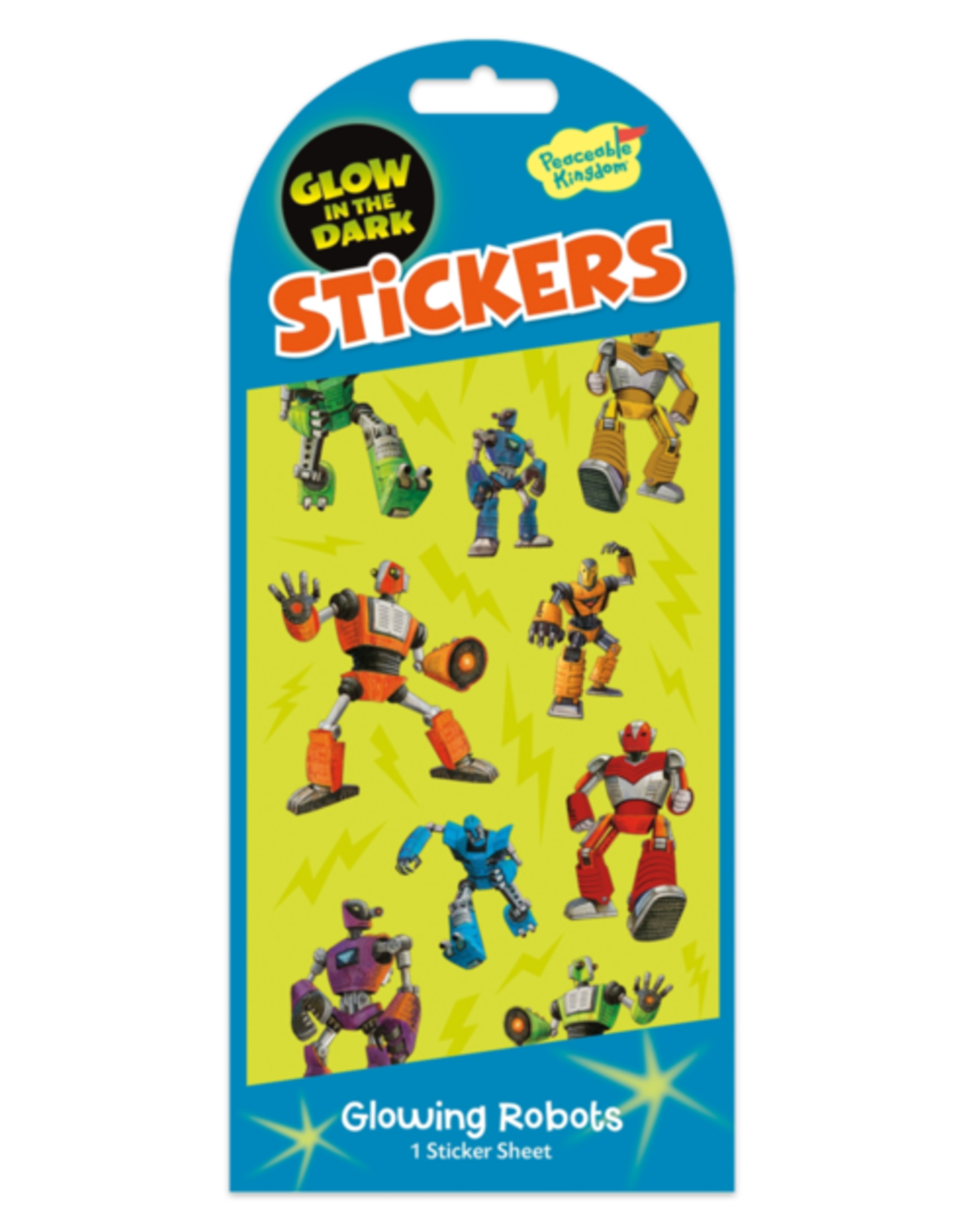 Peaceable Kingdom Glowing Robots Glow in the Dark Stickers
