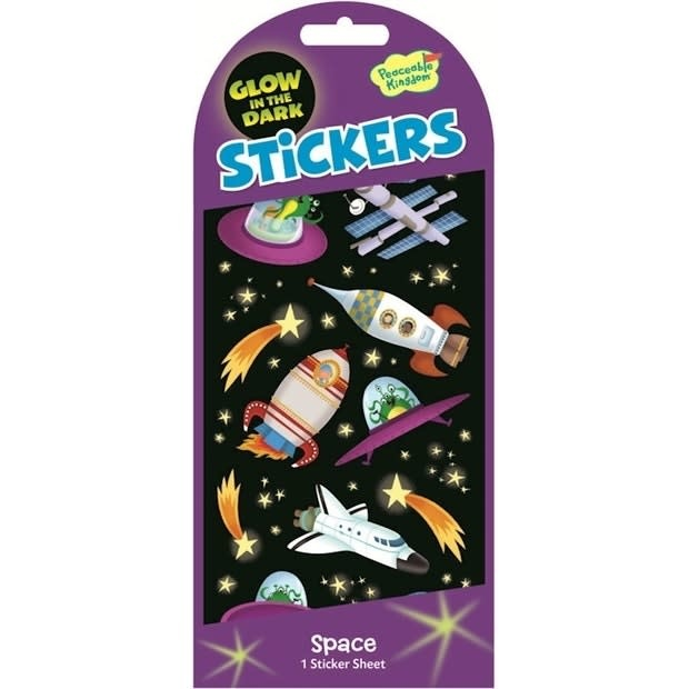 Peaceable Kingdom Space Glow in the Dark Stickers