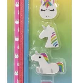 iscream Unicorn Pencil Eraser & Sharpener Set
