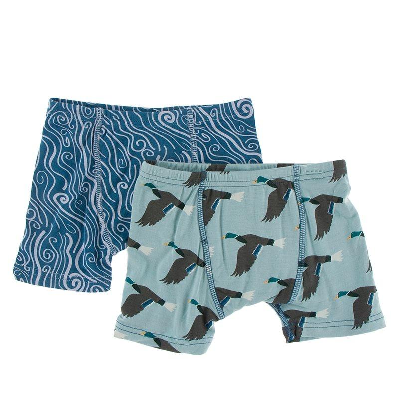 Kickee Pants Boxer Brief Set (Twilight Whirl River/Jade Mallard Duck)