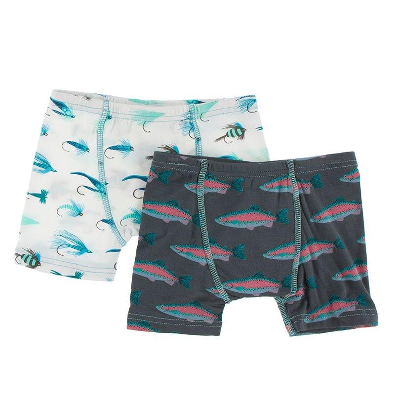 Kickee Pants Boxer Brief Set (Nat Fishing Flies/Stone Trout)