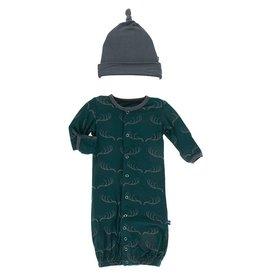 Kickee Pants Gown Conv & Hat Set Pine Deer Rack