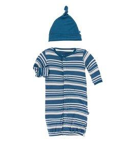 Kickee Pants Gown Conv & Hat Set Fishing Stripe