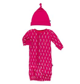 Kickee Pants Ruff Gown Conv & Hat Set Prickly Pear Seahorse