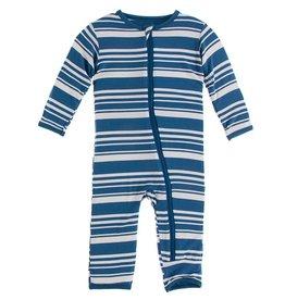 Kickee Pants Coverall w/ Zipper Fishing Stripe