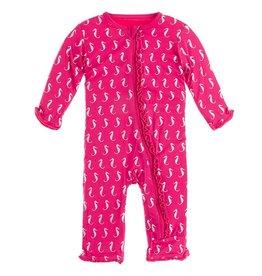 Kickee Pants Muff Ruff Coverall w/ Zipper Prickly Pear Seahorse