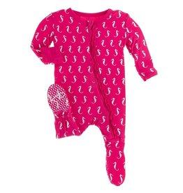 Kickee Pants Muff Ruff Footie w/ Zipper Prickly Pear Seahorse