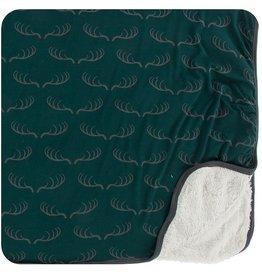 Kickee Pants Sherpa Lined Toddler Blanket Pine Deer Rack