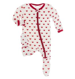 Kickee Pants Print Footie w/ Zipper Natural Hearts