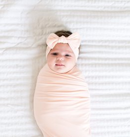 Copper Pearl Blush Knit Headband Bow