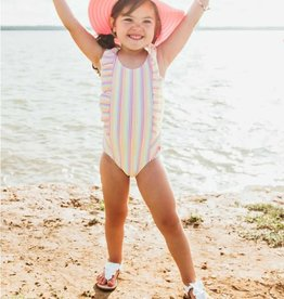Ruffle Butts/Rugged Butts Rainbow Stripe Waterfall One Piece