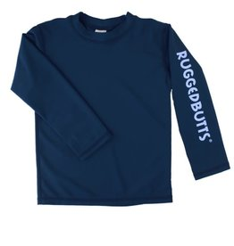Ruffle Butts/Rugged Butts Navy LS Logo Rash Guard