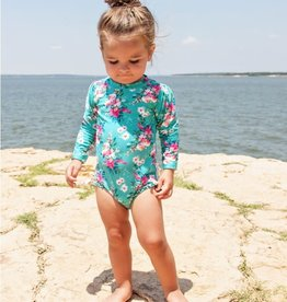 Ruffle Butts/Rugged Butts Fancy Me Floral One Piece Rash Guard