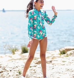 Ruffle Butts/Rugged Butts Girls Fancy Me Floral LS One Piece Rash Guard