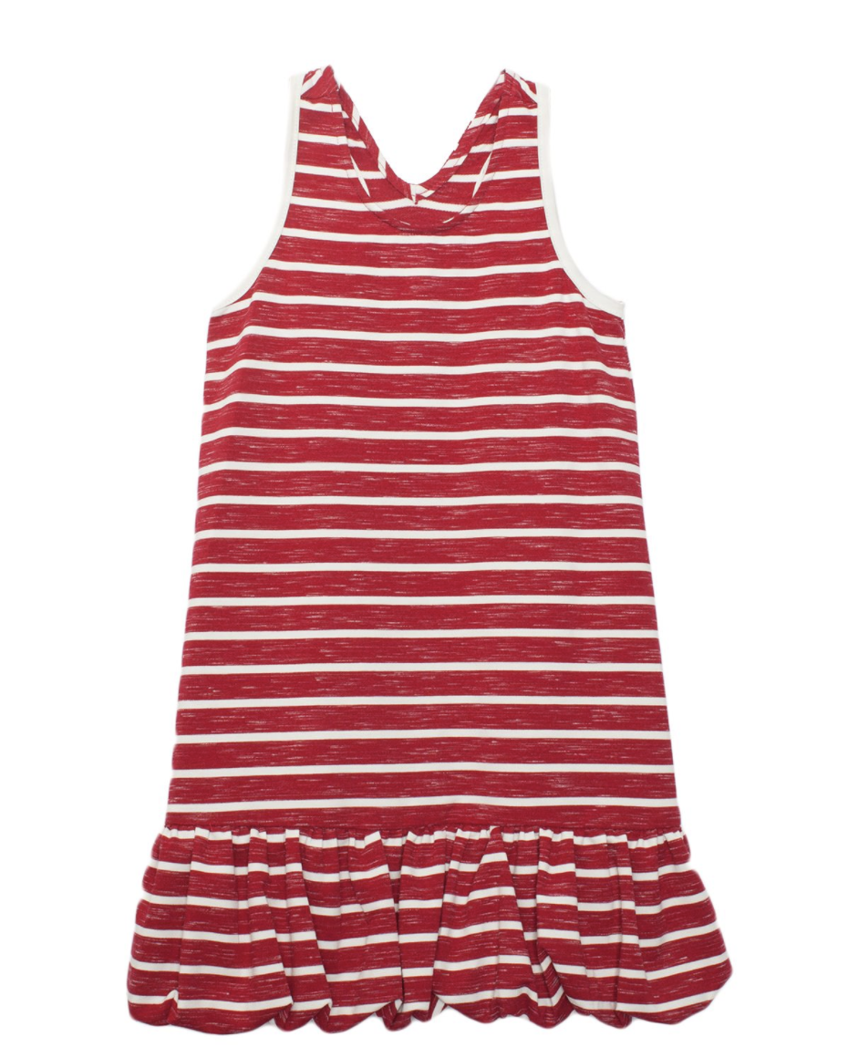 Isobella & Chloe Bubble Stripe Knit Dress Red