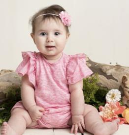 Isobella & Chloe Knit Ruffle Romper Pink