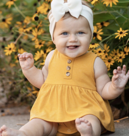 Mabel & Honey Mustard Romper & Bow Set Gold
