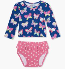 Hatley Bright Butterflies Baby Rashguard Set Galaxy Blue