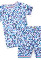 Hatley Cheetah Hearts Short PJ Set White