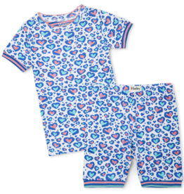 Hatley Cheetah Hearts Short PJ Set White