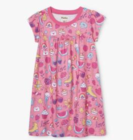Hatley Lovely Doodles SS Nightdress Geranium Pink