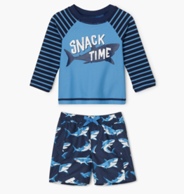 Hatley Deep Sea Sharks Baby Rashguard Set Malibu Blue