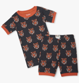Hatley Fierce Tigers Short PJ Set Charcoal Grey