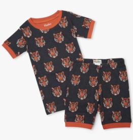 Hatley Fierce Tigers Short PJ Set Charcoal Grey