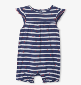 Hatley Nautical Stripe Baby Flutter Sleeve Romper Blue
