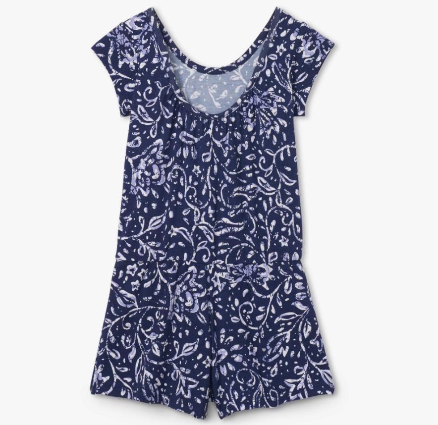 Hatley Batik Flowers Faux Dress Romper Patriot Blue