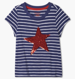 Hatley Red Star Flip Sequins Tee Patriot Blue
