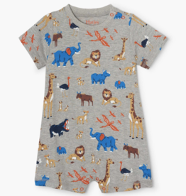 Hatley Wild Safari Baby Romper Athletic Grey