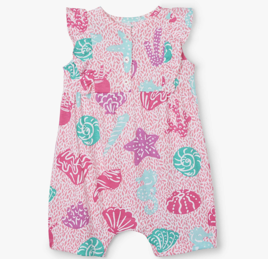 Hatley Abstract Sea Life Baby Cha-Cha Romper Rose