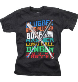 Wes And Willy Baseball Words SS Tee Black Blend