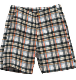 Wes And Willy Flat Waist Plaid Short Orange Crush