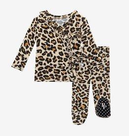 Posh Peanut Lana Leopard Tie-Front Kimono Set