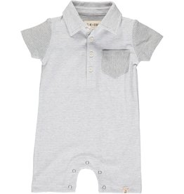 Me & Henry Saltash Polo Romper Grey/White Stripe