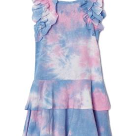 Mabel & Honey Pink Tie Dye Knit Ruffle 2 Layer Dress