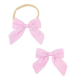 Mila & Rose Pink Hand Tied Bow Headband