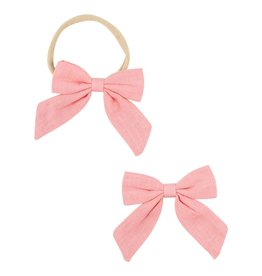Mila & Rose Coral Hand Tied Bow Headband