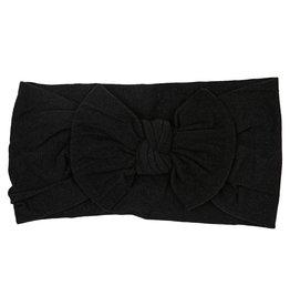 Mila & Rose Onyx Black Nylon Bow Headwrap