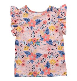 Mila & Rose Field Of Flowers SS Ruffle Tee