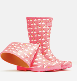 Joules JNR Roll Up Boots Pink Rain Clouds